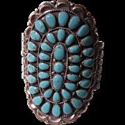 Navajo Native American Cluster Bracelet Turquoise Sterling Silver Huge