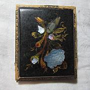 Antique Papier Mache Mother of Pearl Hand Painted Plaque  19th C Paper Mache Art