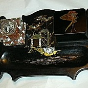 SALE Antique Papier Mache Inkstand Or Standish Signed Jennens & Bettridge Inlaid Mother Of Pea