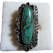 Native American Silver Turquoise Ring Size 6.25