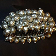 Old Faux Pearl Bracelet From Japan Expansion Design Rhinestone Tips Fine Vintage Costume ...