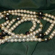Faux Pearl Beads Elegant Necklace or Belt Ornate Metal Clasp Fine Vintage Costume Jewelry