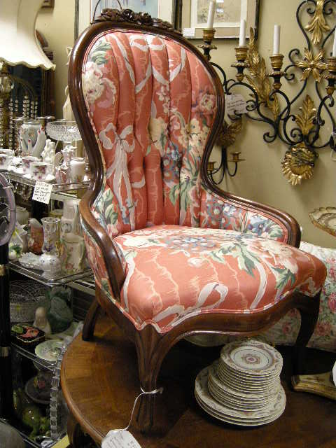 Victorian Furniture For Sale >> Victorian Carved Back Floral Upholstered Lady Chair from
