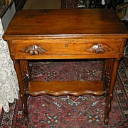 Victorian Sewing Or Side Table Walnut Carved Handles Antique Furniture