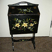 Old Sewing Stand Tole Style Flowers Vintage Furniture