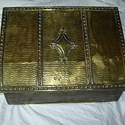 Old Brass & Wood Slipper Box Tinderbox Fireplace Hearth Accessory