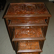 SALE Rare George Zee Carved Oriental Nested Tables Set 4