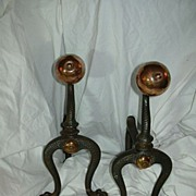SOLD English Arts & Crafts Andirons  Fire Dogs - Red Tag Sale Item
