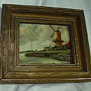 Windmill Miniature Celluloid Framed Art