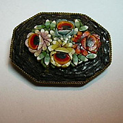 Large Mosaic Italian Brooch Pin Fine Vintage Costume Jewelry