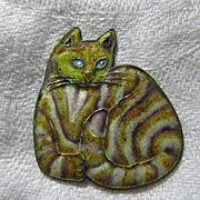 REDUCED Enamel Cat Pendant Charm Old Cheshire Cat Costume Jewelry
