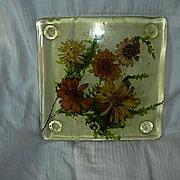 Old Lucite Trivet With Dried Flowers