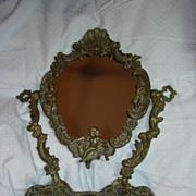 Ornate Old Mirror On Stand Cherubs & Nymphs Fine Old Vanity