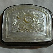 Antique Mother Of Pearl Coin Purse Hand Carved MOP