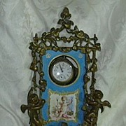SALE Antique French Porte Montre Watch Holder Hand Painted Angel