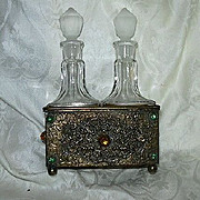 Gold Gilt Faux Jeweled Dresser Set Perfume Bottles In Stand