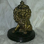SALE Antique Lion Inkwell Glass Eyes