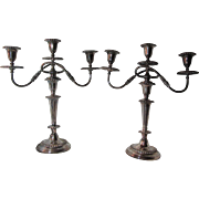 Pair Large Silver Plate Candelabra