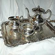4 Pc Community Plate Fine Silver Tea Set Pot Cream Sugar & Tray