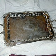 SOLD Old Large Sheridan  Silver Plate Tray Footed With Handles