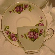 Colclough Cup & Saucer Bone China England Purple Flowers