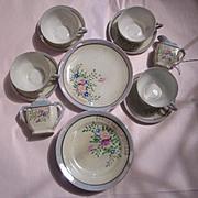 SALE Hand Painted  Porcelain  Miniature Childrens Tea Set  Sugar Creamer Cup & Saucer Sets Pla