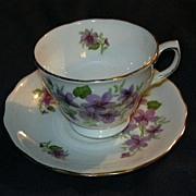 Violets Cup & Saucer Set Royal Vale Bone China England Fine Dining & Tea