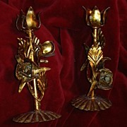 Italian Florentine Pair Gold Gilt Candleholders