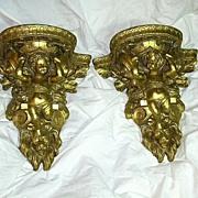 Gold Gilt True Pair Wall Shelves Platforms Angels Putti  Cherubs