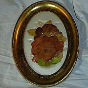 Old Italian Florentine Framed Flowers & Satin