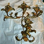 SOLD Gold Gilt Italian Florentine Large Wall Candelabra Sconce With Angel Cherub