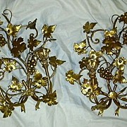 Pair Italian Florentine Gold Gilt Wall Sconces Candleholders Lighting