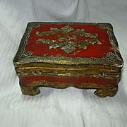 Italian Florentine Box Gold Gilt & Hand Painted Gesso On Wood