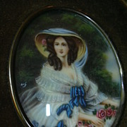SALE PENDING Old Miniature Painting  Velvet Frame Fine Art
