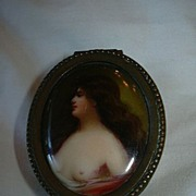 SOLD Miniature Nude Portrait Painting On Porcelain Box
