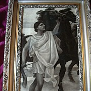 SALE PENDING Apollo Grisaille Painting In Fine Frame