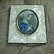 Old Print Lady In Prayer & Faux MOP Frame Miniature