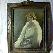 SALE Gustave Lorey Signed Hand Colored Photograph Beautiful Lady Art Deco Frame