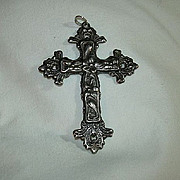 Old Silver Repousse Double Sided Cross
