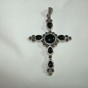 Sterling Silver Black Onyx & Marcasites Cross