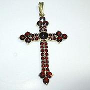Victorian Garnet Gold Filled Cross