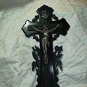 Old French Wall Crucifix & Holy Water Font Carved Wood