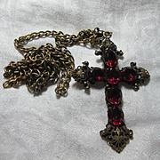Josef Of Hollywood Cross Pendant Pink Stones