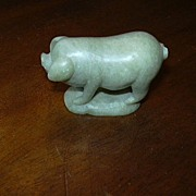Carved Soapstone Pig Figure