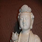 Large Chinese Hong Kong Blanc De Chine Kwan Quan Yin Bodhisattva Figure