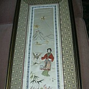 Chinese Framed Embroidered Silk With Lady & Butterfly