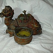 Old Metal Camel Candleholder Statue Middle Eastern Orientalist Decor