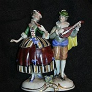 Rudolstadt Germany Ernst Bohne Sohne Capodimonte Style  Figurine Couple Courting Musician ...