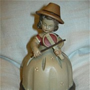 SALE PENDING Anri Girl Child Musician Fiddle Music Box Musical Figurine Reuge Swiss Movement P