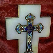 French Champleve Enamel Cross & Marble Holy Water Font Fine Christianity Religious Sacramental